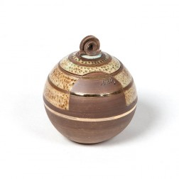 urne precious ceramic artwork UBVCIR-18-16 | BROWN-TURQOISE | 18 cm - 2,5 l