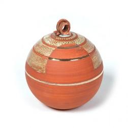 urne precious ceramic artwork UBVCIR-20-17 | BRICK-RED | 20 cm - 3 l