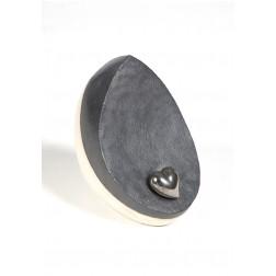 urne precious ceramic artwork UBVDAK-L-1014 | WHITE/BLACK | 25x25x16 cm - 3,5 l
