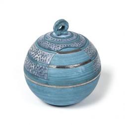 urne precious ceramic artwork UBVCIR-20-19 | SEA-BLUE | 20 cm - 3 l