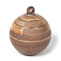urne precious ceramic artwork UBVCIR-23-16 | BROWN-TURQOISE | 23 cm - 4 l